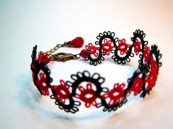 Filigree Lace Tatted Bracelet - Ruby Red and Black with ruby red crystal