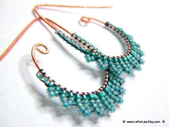 ETRUSCAN Filigree lace sky earrings- beaded lace on handmade oxidised drop shaped hoops copper earrings - Made in Italy
