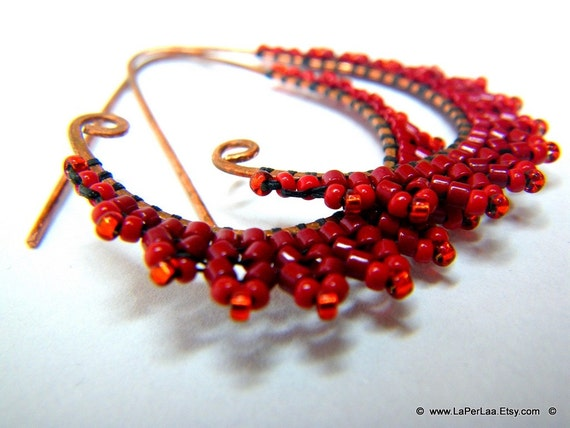 ETRUSCAN Filigree Lace Coral Red Earrings