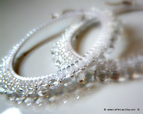 DEW DROPS Earrings in pearl white - beaded beads lace - wedding white -HandMade in Italy