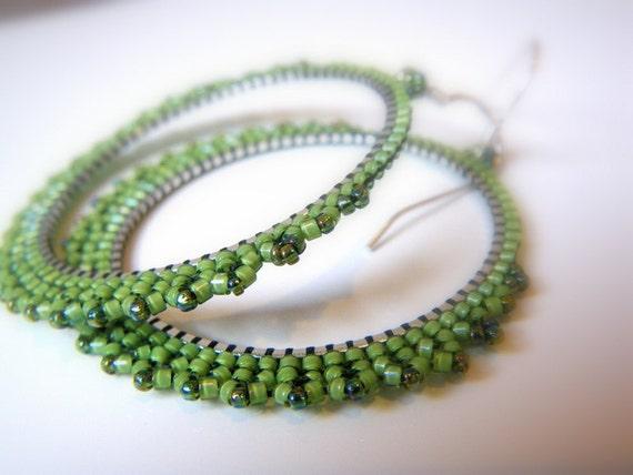 ETRUSCAN Lace IRISH MIST  Hoop  Earrings - beaded beads lace on round hoop - HandMade in Italy