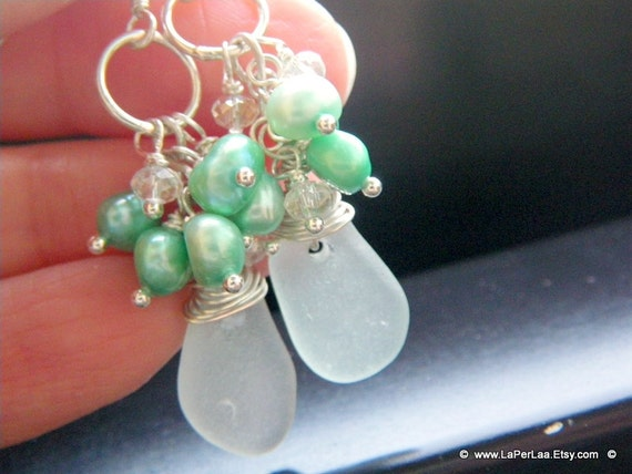Mermaid Tears - PEARL - Genuine Amalfi Sea Glass Cluster Earrings a freshwater pearls on sterling silver - recycle - reuse