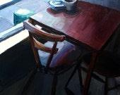 Leila's, corner table, original oil on panel painting, 15 x 15 cm, 2011