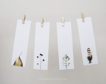 Bookmarks Set - Natural Series I. Nature photography bookmark. Minimalist. Simple. Botanical. Book lovers gift. Stocking stuffers.