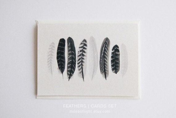 FEATHERS BLANK CARDS set of 6