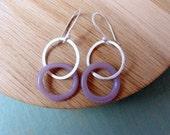 Sterling silver hoop earrings purple glass ring.