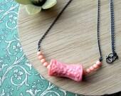 Sterling silver necklace - Pink - Vintage Carved  Coral