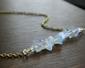 Glass Moonstone Stacked Stone Bar Gold Necklace | Opalescent Glass Chips Necklace | Simple Opalite Necklace