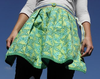 Recycled Butterfly Skirt Apron | Women's Green & Blue Half Apron | Michelleigh