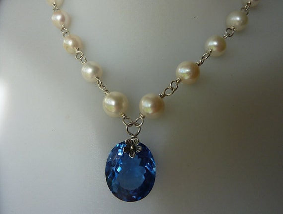 Sale, luxury necklace, AAA London blue topaz, freshwater pearls, sterling silver, quality, wire wrapped strand of pearls, fine jewelry