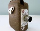 Vintage 8 mm Movie Camera Distressed 1940s 1950s Midcentury Industrial Decorative Handheld Video Camera Citation DeJur
