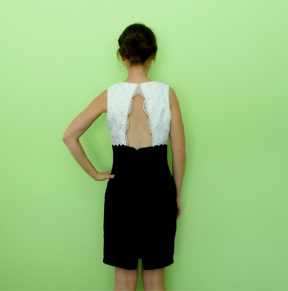 Vintage Gunne Sax 1980s Black and White Open Back Dress with Brooch  S M Sale