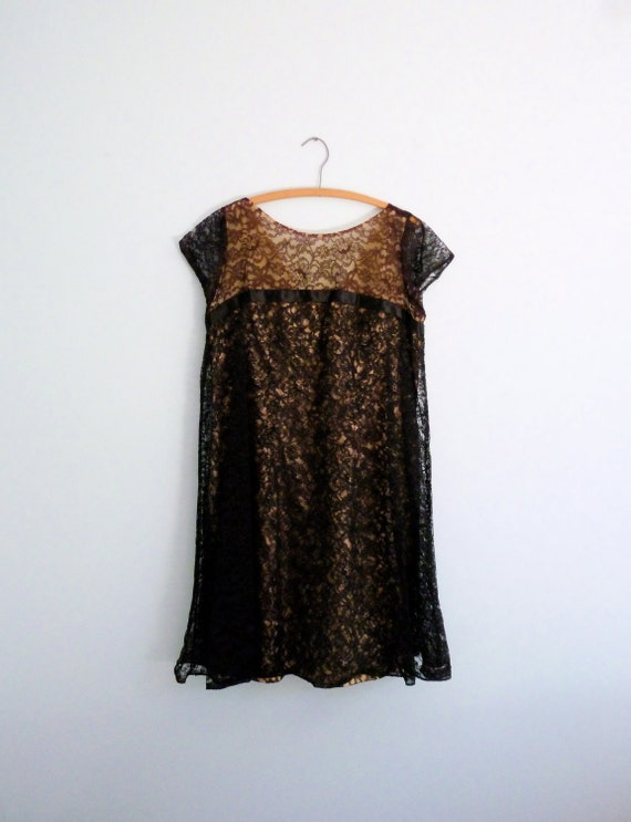 Black Lace Cocktail Dress Vintage 60s Babydoll Tent Mini Elinor Gay