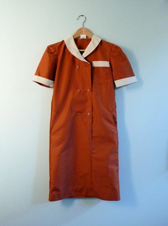 Vintage Waitress Uniform 60s Diner Girl Shirt Dress Burnt