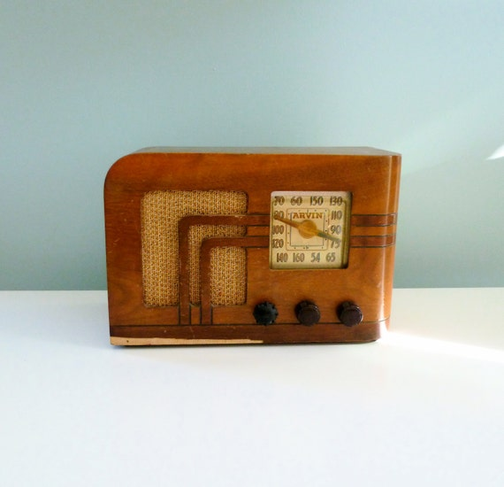 Reserved Vintage Art Deco Radio 1940s Wooden Tube Radio Arvin 6640
