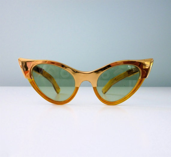 1960s Cat Eye Sunglasses Metallic Gold Two Tone Orange Amber Shades 50s Atomic 60s Space Age Green Lens