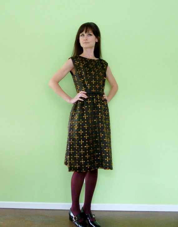 Reserved 60s Beaded Cocktail Dress Dark Chocolate Brown Black Gold Vintage 1960s I Magnin Satin Wiggle Boatneck Party Dress Small