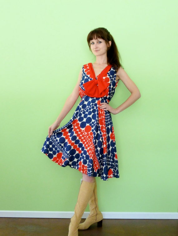 60s Mod Patriotic Dress XS/S Quirky Red White & Blue Polka Dot Dress Ascot Bow Op Art Novelty Print