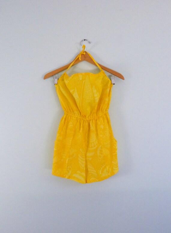 80s Vintage High Waist Romper Yellow Hawaiian Print Halter Swimsuit Beach Cover Playsuit xs small