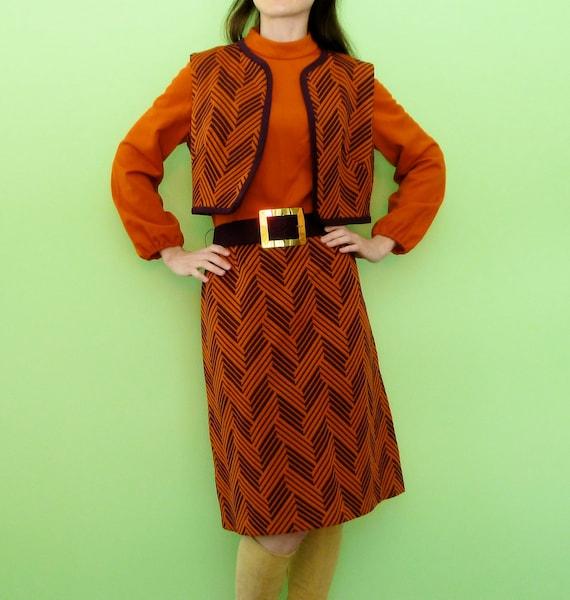 Retro 70s Orange Dress Vest Set Purple Chevron Stripe Funky Poet Sleeve Belted Midi Dress Scooby Doo