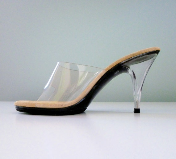Reserved 1970s Clear Heels Transparent Nude Illusion Open Toe High Heel Sandals Onex 5 5.5