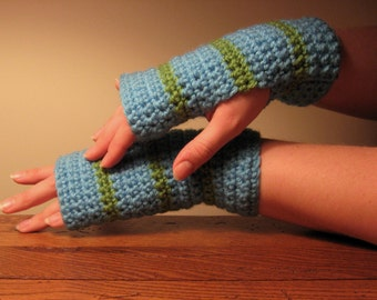 SALE - Fingerless Gloves in Soft Blue and Green Stripes