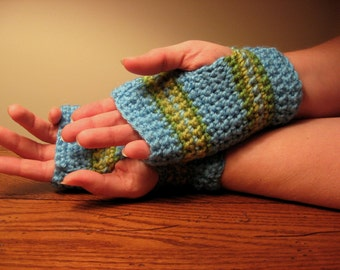 SALE - Striped Fingerless Gloves in Soft Green and Blue