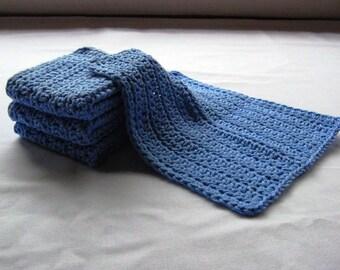 Cotton Crochet Washcloths in Cornflower Blue - Set of 4
