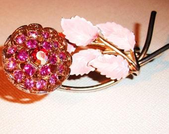 Lovely Original Vintage Pink and Gold Flower Brooch