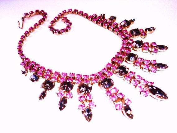 Huge Original Vintage Smokey Gray and Hot Pink Costume Necklace on sale today