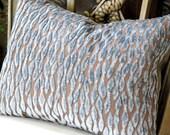 Decorative Pillow - Pollack Flow Robin's Nest Blue Cut Velvet Pillow. Includes choice of Organic Buckwheat Spa Insert or Feather/Down Insert