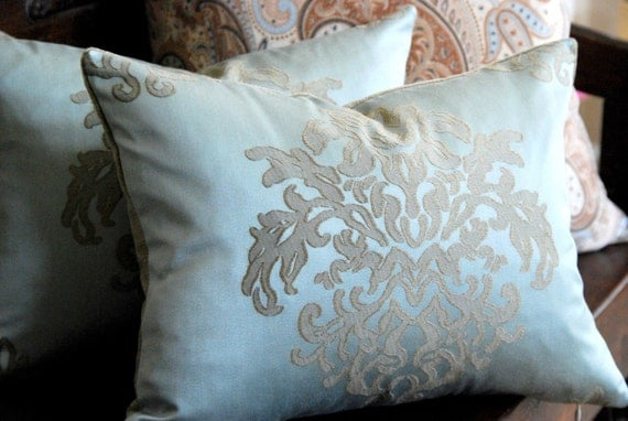 Slate Blue Damask and Velvet Boudoir, Spa, Dream, or Lumbar Pillow. Includes your choice of Organic Buckwheat Spa Insert or Feather/Down Insert