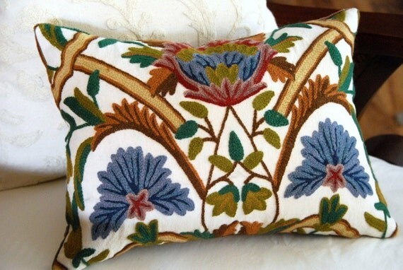 Decorative Pillow -  Crewel and Velvet Pillow. Includes your choice of Organic Buckwheat Spa Insert or Feather/Down Insert