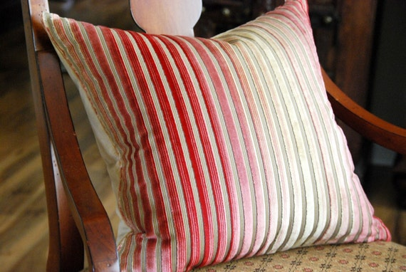 18x18 Red Striped Cut Velvet Pillow Cover, Cushion Cover