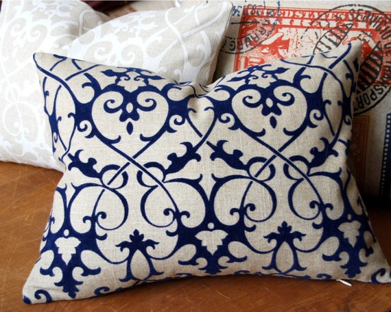 Decorative Pillow - Royal Blue Iron Scroll Flocked Linen Pillow. Includes your choice of Organic Buckwheat Spa Insert or Feather/Down Insert