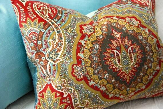 French Blue Silk and Velvet Decorative Pillow, Designer Pillow, Throw Pillow, Accent Pillow, Cushion, Spa Pillow, Buckwheat Pillow