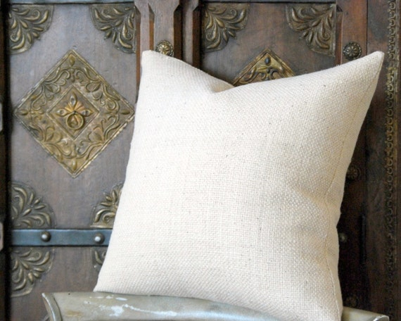 Decorative Pillow - 18x18 White Woven Raw Silk Pillow Cover, Cushion Cover