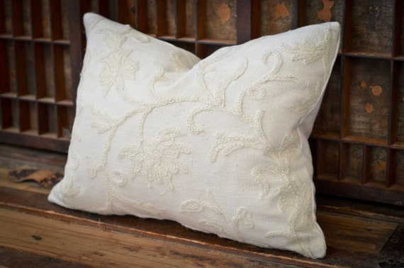 Decorative Pillow -  Monochromatic Tone on Tone Wool Crewel Pillow. Includes choice of Organic Buckwheat Spa Insert or Feather/Down Insert