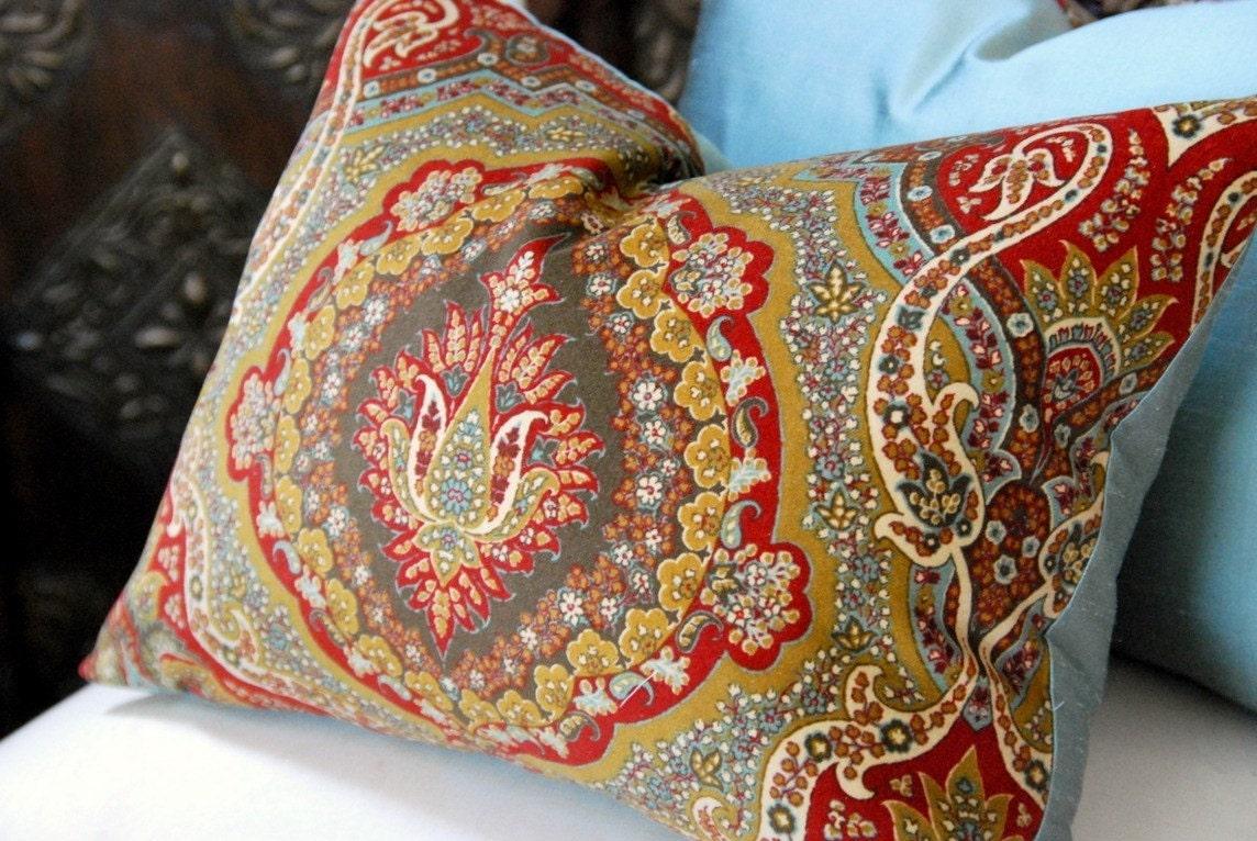 French Blue Silk and Velvet Decorative Pillow Designer
