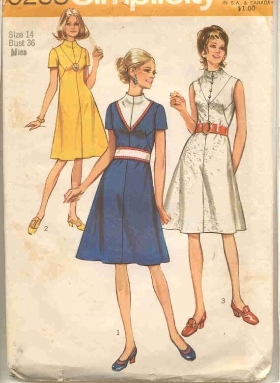 Simplicity 9258  Vintage early 70s Dress pattern with V-yoke