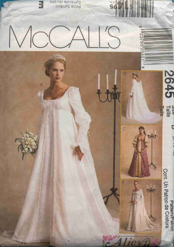 Items similar to mccall 39 s 2645 renaissance inspired for Renaissance inspired wedding dress