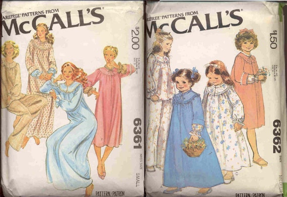 McCalls 6361 and 6362 Matching Vintage mother daughter sleepwear patterns