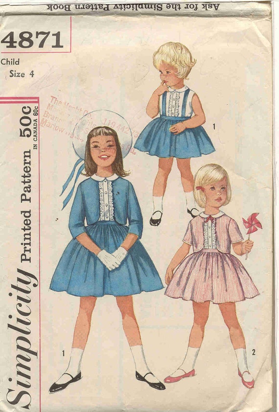 Simplicity 4871 Vintage Early 60s 3 Piece Dress Outfit for Girls