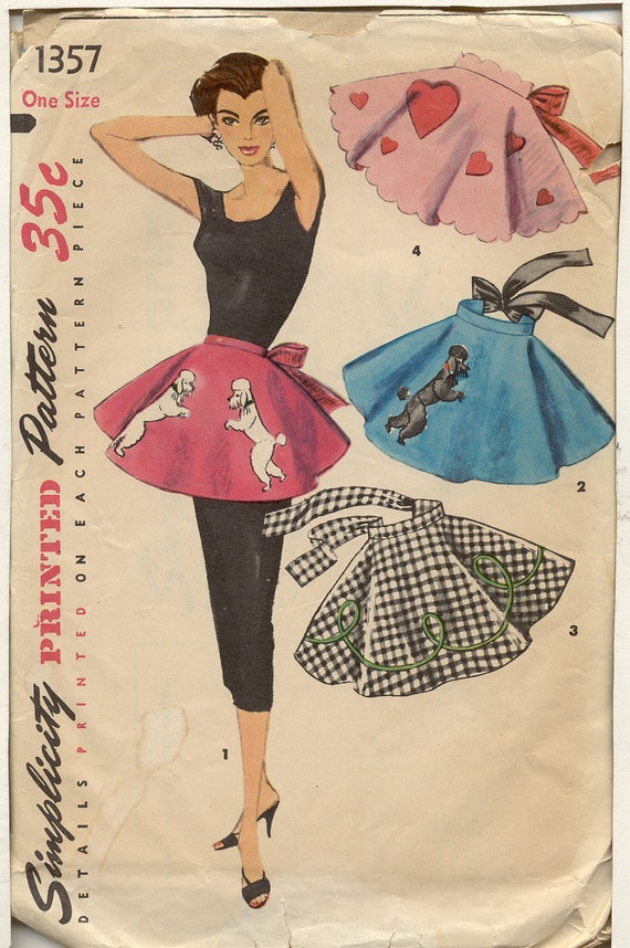 Simplicity 1357 Vintage 1950s Poodle Skirt Apron pattern with appliques