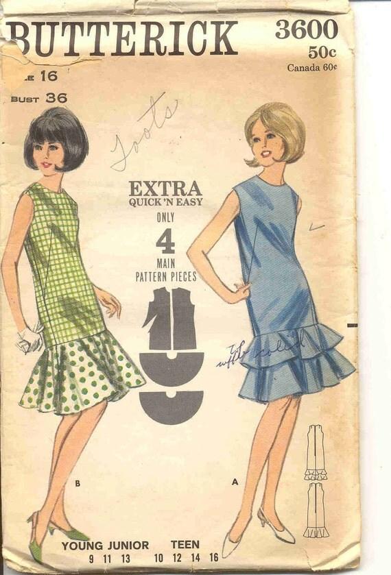 Butterick 3600 Vintage 60s Junior/Teen Dress Pattern
