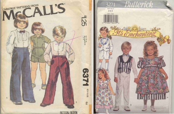 Lot of 2 Children's Formalwear Patterns for Ring Bearer Flower Girl plus Casual boys UNCUT
