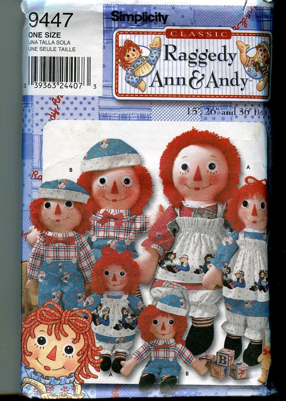 Simplcity 9447 Raggedy Ann and Andy dolls and clothing pattern in 3 sizes - UNCUT