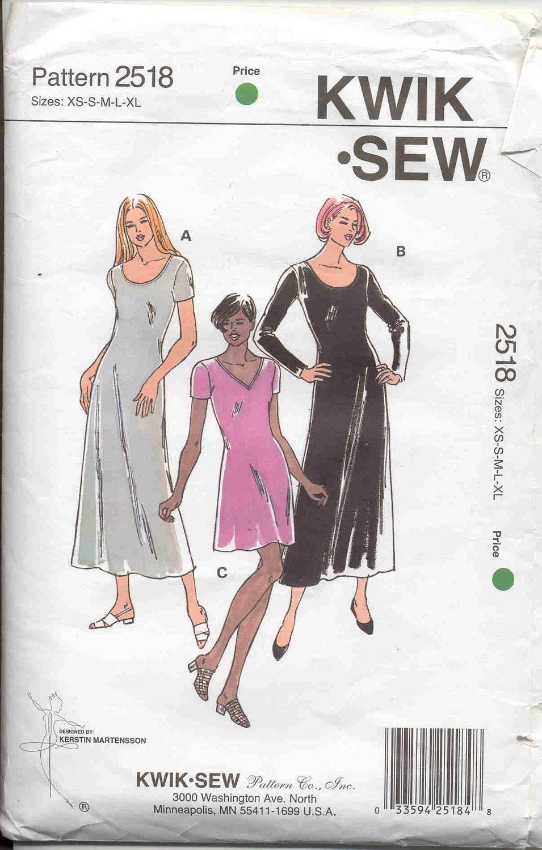 Kwik Knit Patterns : Kwik Sew pattern 2518 Stretch Knit Dress Pattern
