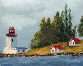 Lighthouse - Vancouver Island - Small Acrylic Seascape Painting