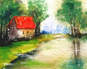 AT THE LAKE -  Original Small Watercolor Landscape